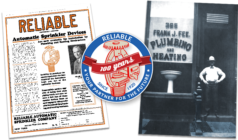 A historical image and flyer from Reliable Sprinkler